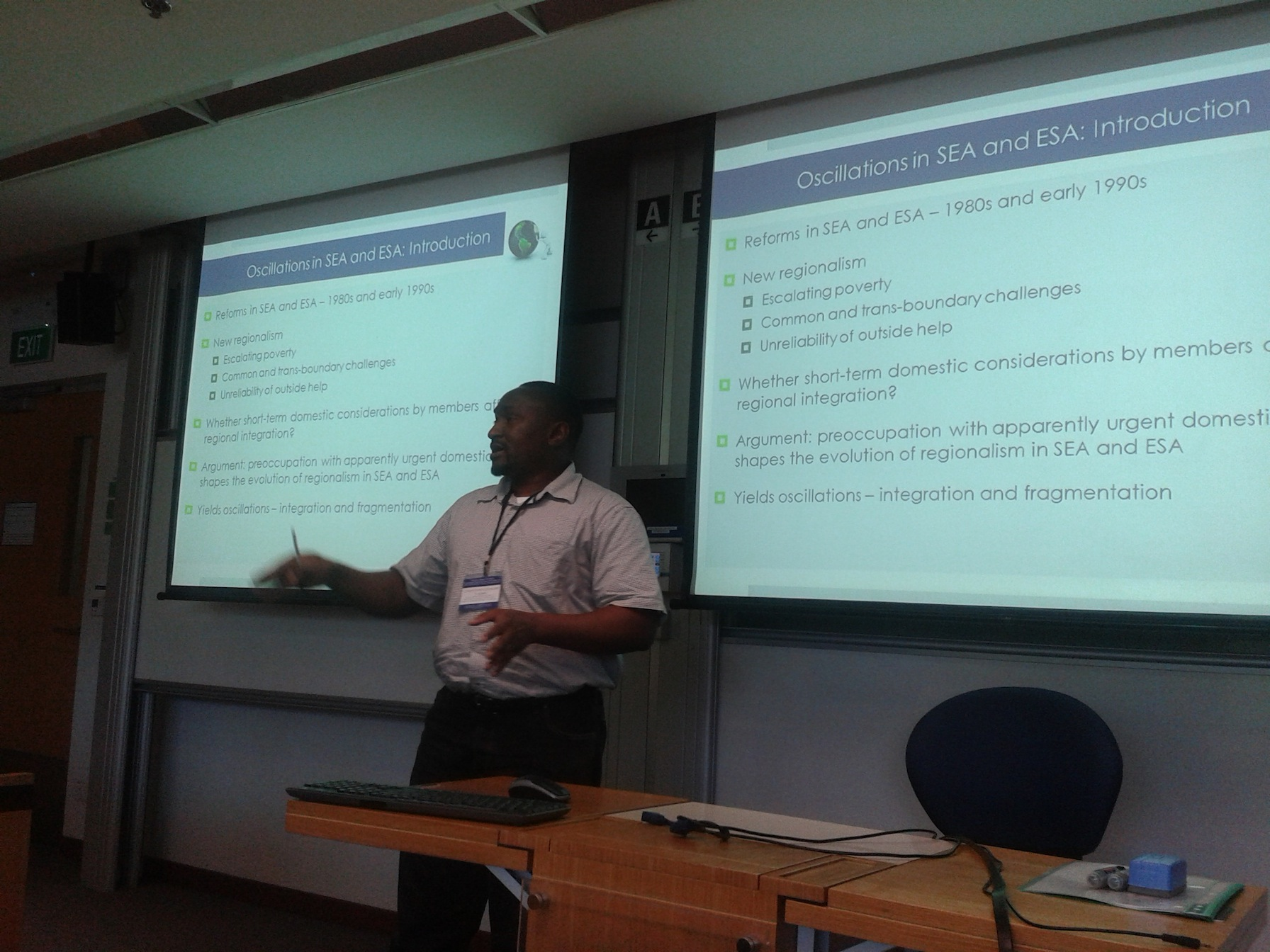 Chris Nshimbi giving his presentation in Singapore