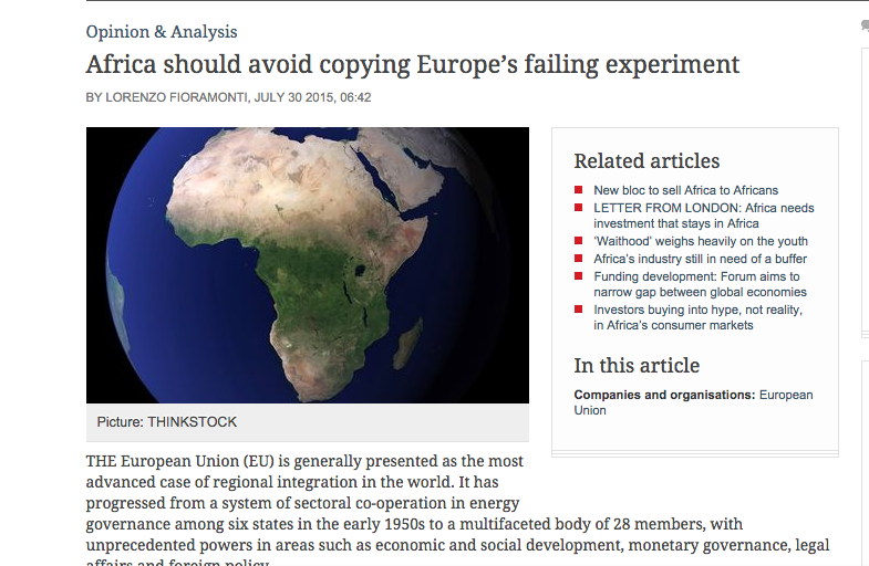 """Africa should avoid copying Europe's failing experiment"" Business Day 30.07.2015"