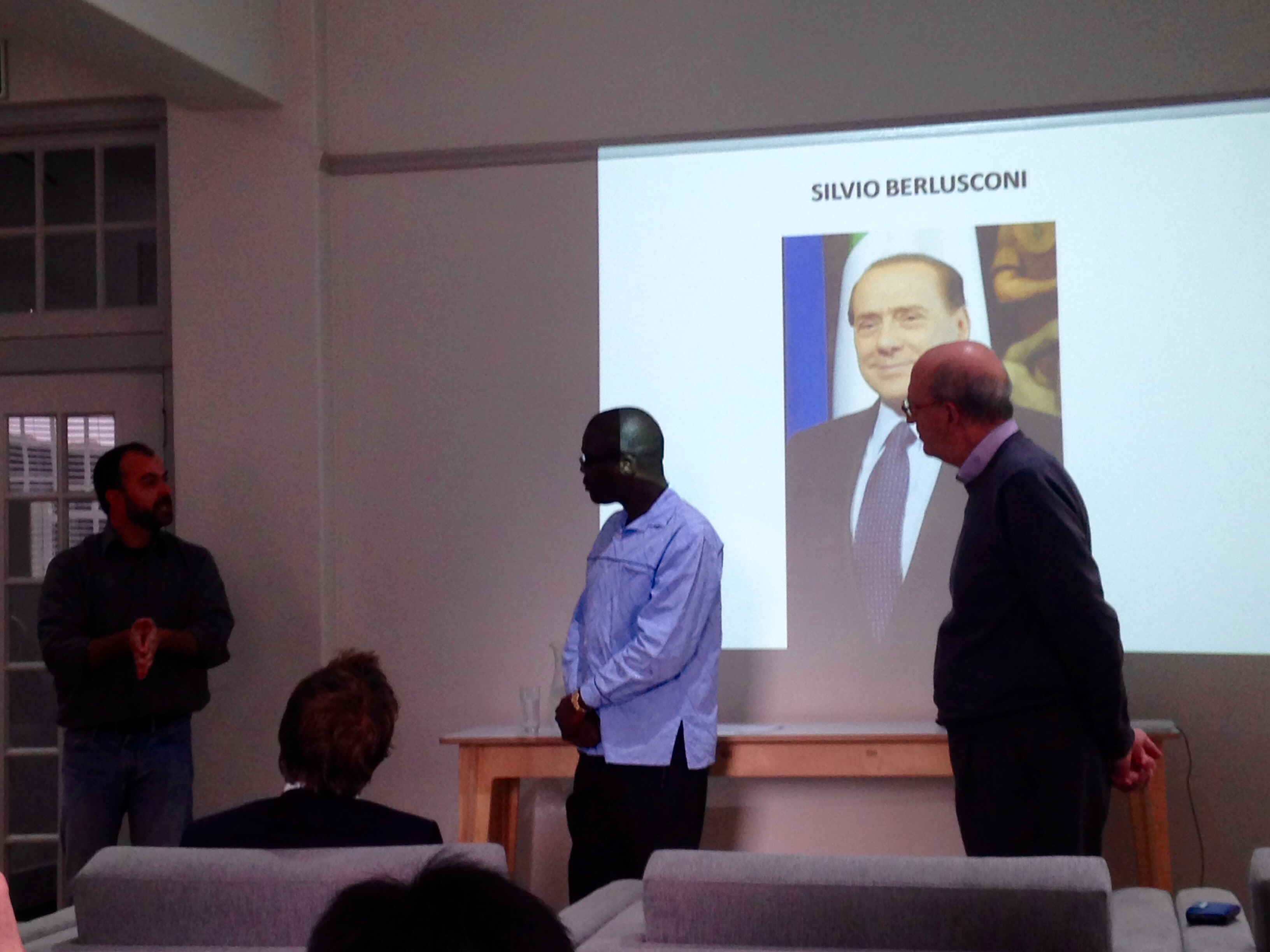 Prince Mashele and Prof. Roberto D'Alimonte discussing Burlesconi.