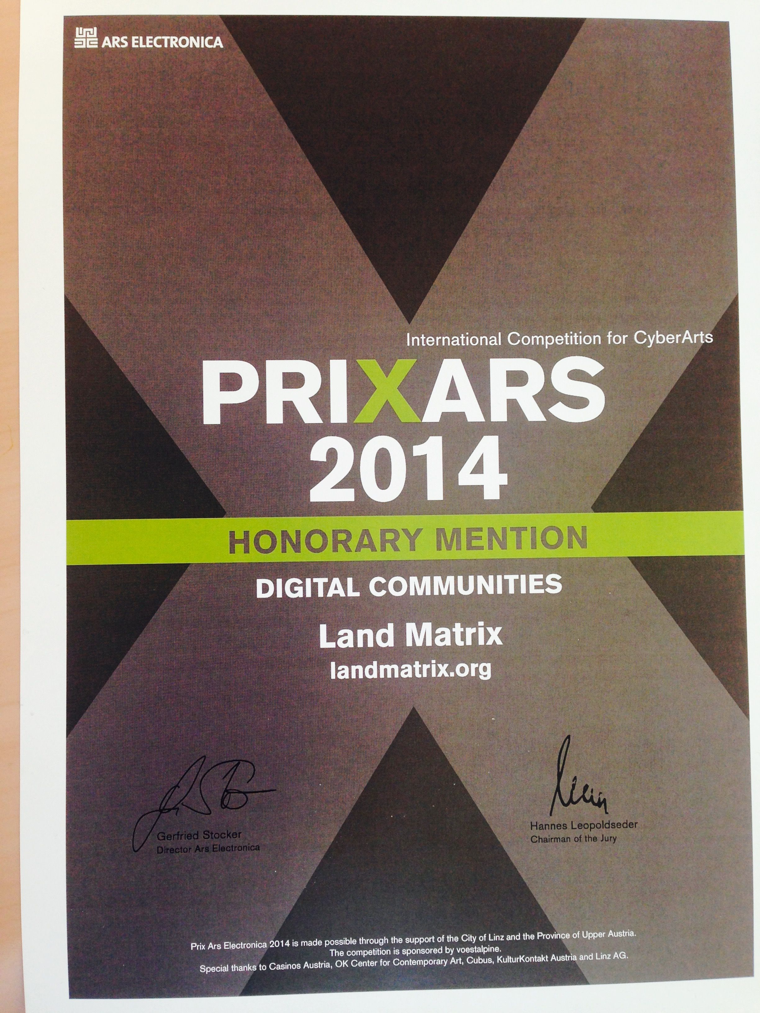 Prixars 2014 Honorary Mention