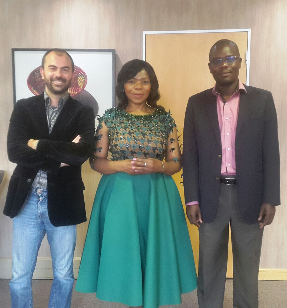 GovInn director Lorenzo Fioramonti and senior research fellow Prince Mashele with Adv Madonsela.