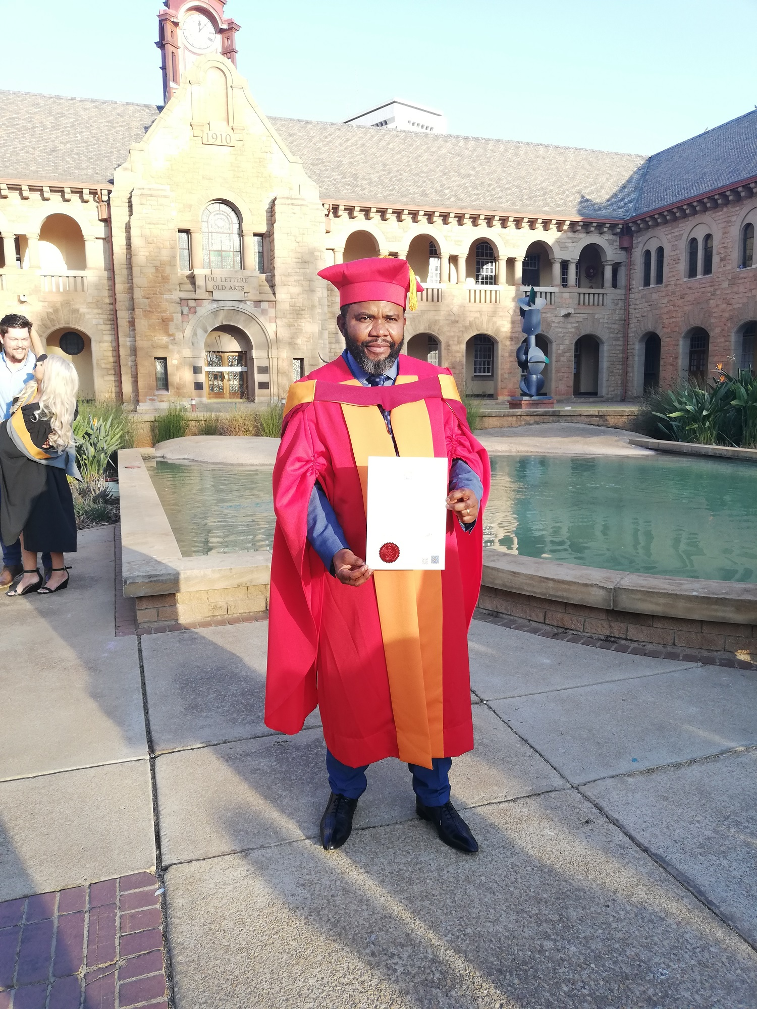 Leon Mwamba on the day of his graduation at the University of Pretoria.