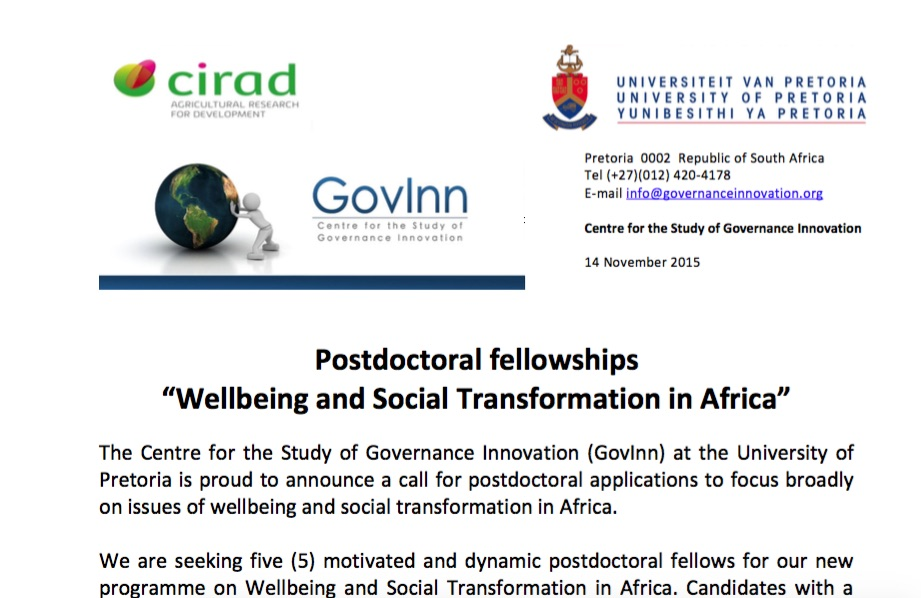 Postdoctoral fellows call 2016