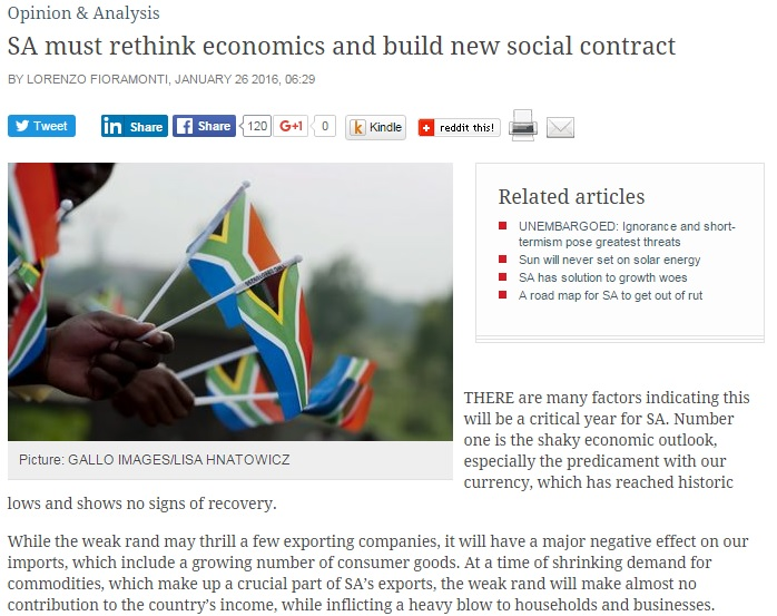 Lorenzo's article in the Business Day, 26 January 2016